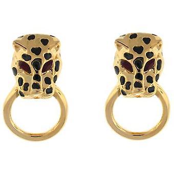 Kenneth Jay Lane Gold Plated & Spotty Leopard Head Clip On Earrings