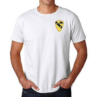 US Army 1st Cavalry DUI Crest Embroidered Logo - Ringspun Cotton T Shirt