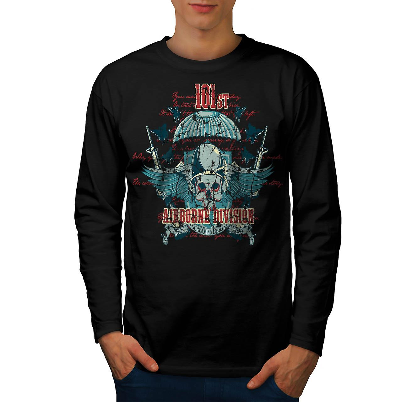 Airborne Division Fly War Flight Men Black Long Sleeve T-shirt | Wellcoda
