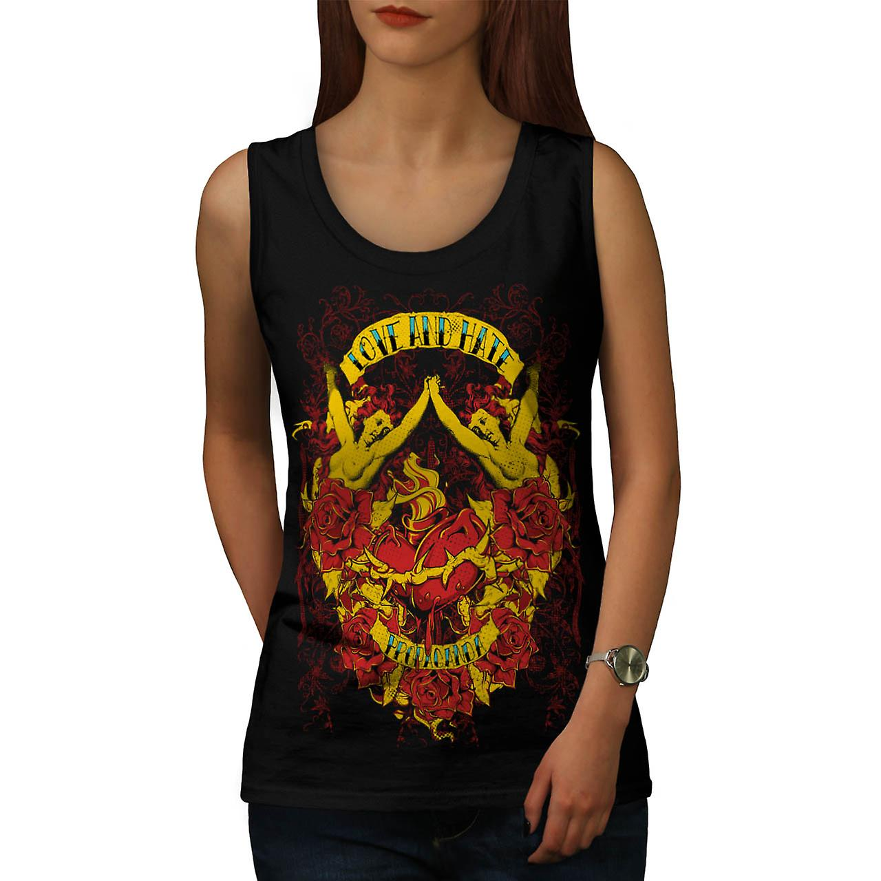 Love And Hate Angels Propaganda Women Black Tank Top | Wellcoda