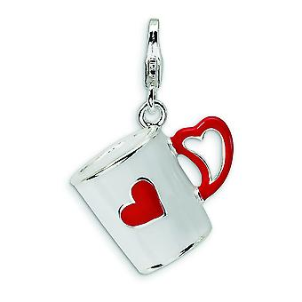 Sterling Silver 3-D Enameled Coffee Cup with Heart With Lobster Clasp Charm - Measures 29x18mm
