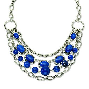 Silver-tone Fancy Lobster Closure Blue Beads 16inch With Ext Necklace - 53.6 Grams