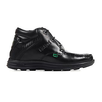 Kickers Reasan Leather Boys Kids School Boot Shoe Black