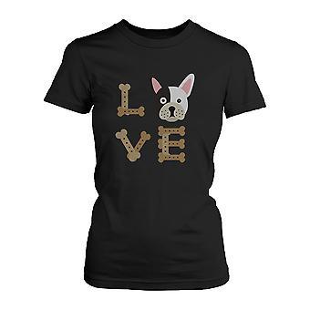 Bulldog kärlek Kvinnors svart tröja för valp älskare söt Tee för hundägare