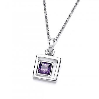 Cavendish French Silver and Amethyst CZ Square in Square Pendant