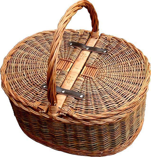 two tone oval picnic 2 lid twist handle empty picnic. Black Bedroom Furniture Sets. Home Design Ideas