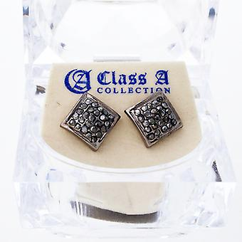 Black bling iced out earrings - SQUARE 10 mm