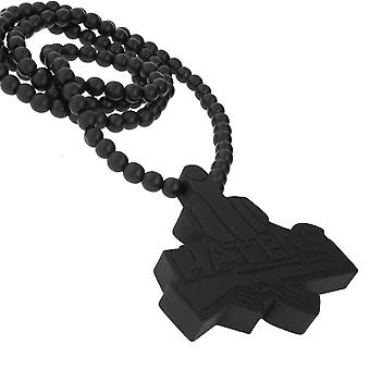 Wood style bead chain - HATERS black