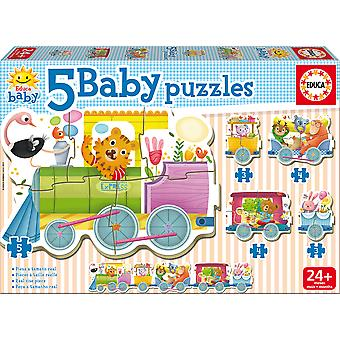 Educa Baby Puzzle Tren Animales  5 En 1 (Toys , Preschool , Puzzles And Blocs)