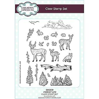 Creative Expressions Sue Wilson Festive Collection A5 Clear 19 Stamp Set Forest Life