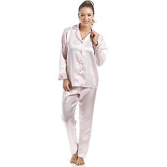 Camille Luxury Pink Satin Pyjama Set