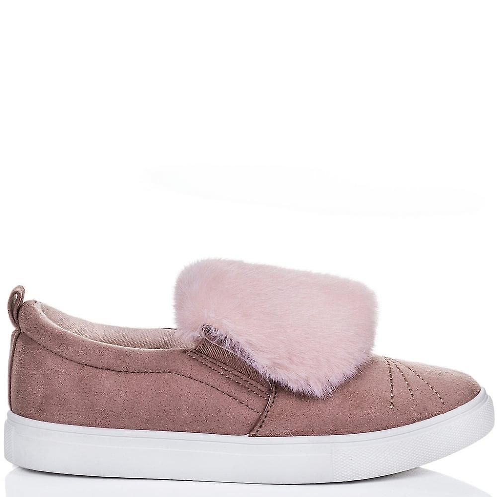 Spylovebuy Shoes BONBON Furry Flat Loafer Shoes Spylovebuy - Pink Suede Style acacf3