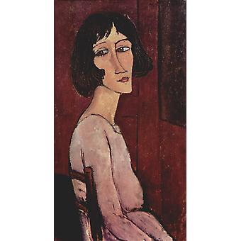 Amedeo Modigliani - Portrait of woman on chair Poster Print Giclee