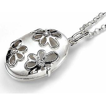 925 sølv zirconia blomst og foto halskjede sølv