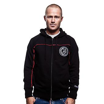 Mens COPA Calcistica Zip Hooded Sweater // Black 70% cotton/30%