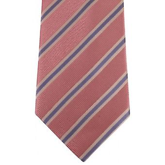 David Van Hagen Regimental Striped Tie - Pink/White/Lilac
