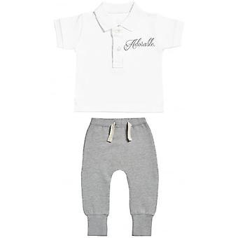 Spoilt Rotten Adoreable Baby Polo T-Shirt & Baby Joggers Outfit Set