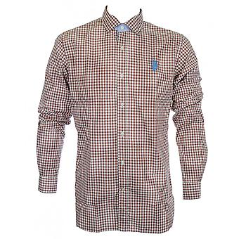 U.S. Polo Assn. Mathew Slim Fit Checkered Brown Shirt