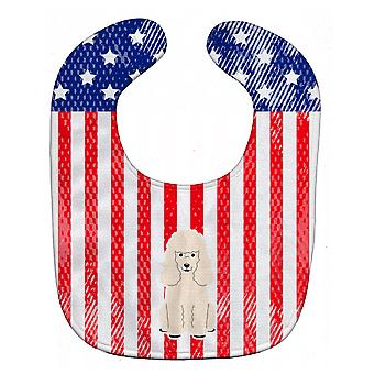 Carolines skarby BB3065BIB patriotyczne USA pudel biały Baby Bib
