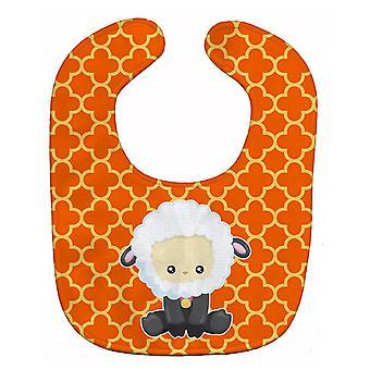 Carolines schatten BB6872BIB schapen op oranje Quatrafoil Baby slabbetje