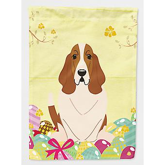 Carolines Treasures  BB6021CHF Easter Eggs Basset Hound Flag Canvas House Size