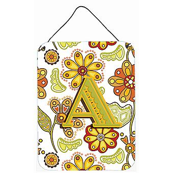 Letter Floral Mustard and Green Wall or Door Hanging Prints CJ2003