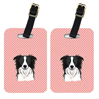 Pair of Checkerboard Pink Border Collie Luggage Tags