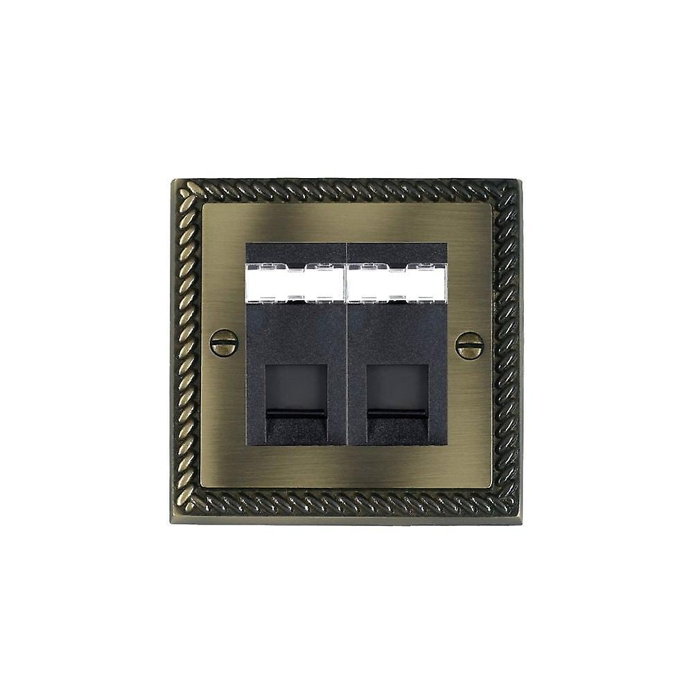 Hamilton Litestat Cheriton Georgian Antique Brass 2g RJ12 Outlet-Unshield BL
