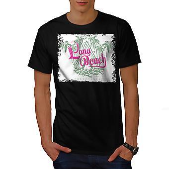 Long Beach Palm mannen gekleedinzwartet-shirt | Wellcoda