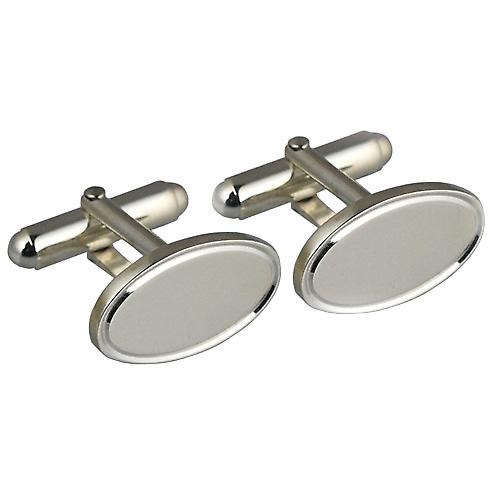 Silver 12x19mm oval engine turned line border swivel Cufflinks