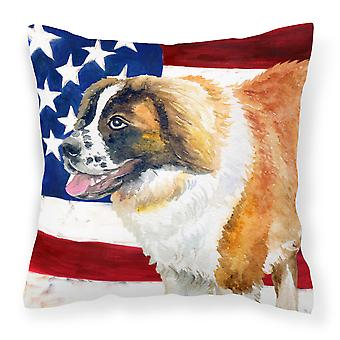 Saint Bernard Patriotic Fabric Decorative Pillow