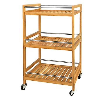SoBuy Bamboo 3 Tier Kitchen Storage Trolley with Castors,FKW11-N
