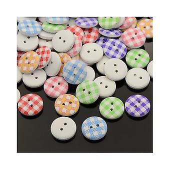 Packet 20 x Mixed Wood 15mm Round 2-Holed Patterned Sew On Buttons HA14510