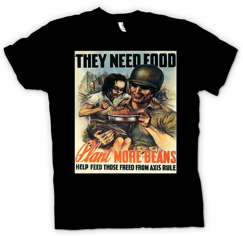 Mens t-skjorte - de trenger mat - krig plakat