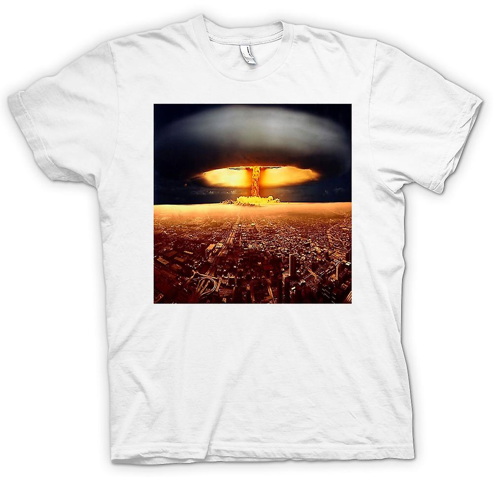 Womens T-shirt - Nuclear Mushroom Cloud On City - Cool