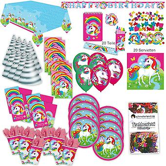 Unicorn Unicorn party set XL 98-teilig for 8 guests Unicorn party decoration party package