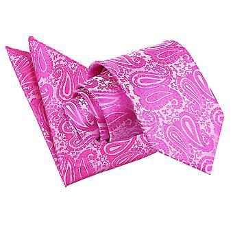 Fuksja różowy Paisley Tie & placu kieszeni zestaw