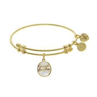 Grand Mother Charm With Synthetic Mother Of Pearl Expandable Bangle Bracelet, 7.25