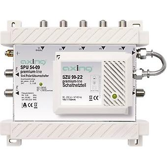Axing SPU 54-09 SAT multiswitch Inputs (multiswitches): 5 (4 SAT/1 terrestrial) No. of participants: 4 Standby mode, Quad LNB compatible