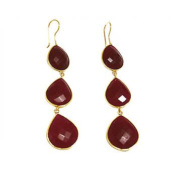 Gemshine Earrings 925 Silver Plated Ruby Red CANDY Drops 9 cm