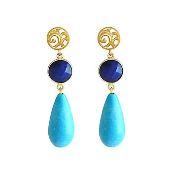 GEMSHINE earrings with sapphires and turquoise. Earrings in 925 silver plated