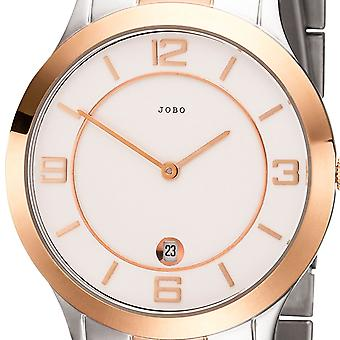 JOBO men's wristwatch quartz analog stainless steel bicolor mens watch gold plated date