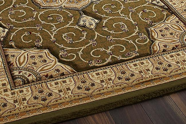 Heritage 4400 Green A green background with a complimentary beige boarder Rectangle Rugs Traditional Rugs