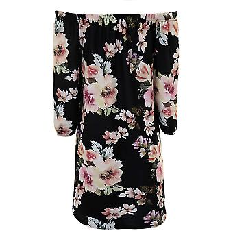 Ladies Bardot Off Shoulder Crepe Textured Floral 3/4 Sleeve Mini Flare Dress