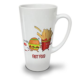 Fast Junk Food NEW White Tea Coffee Ceramic Latte Mug 17 oz | Wellcoda