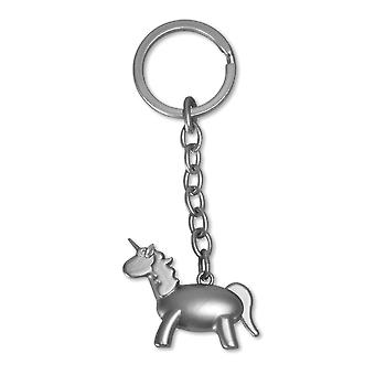 Unicorn key ring silver, 2 x sorted, matt or shiny, metal.