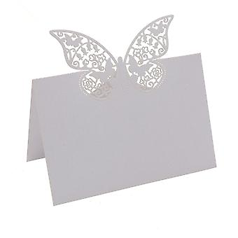 TRIXES 50PC Butterfly Wedding name table placemat cards Pearlescent White Cards Wedding name place shimmer Laser Cut