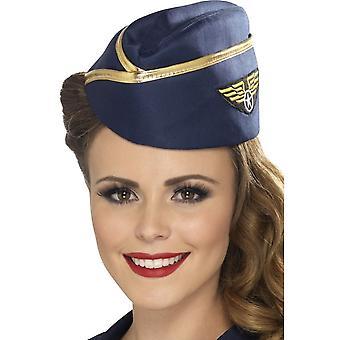 Smiffy Air Hostess Hut, blau, mit Goldrand
