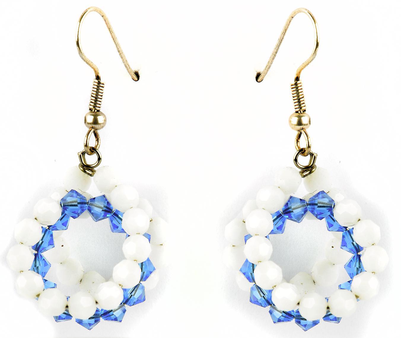 Waooh - jewelry - WJ0750 - earrings with Rhinestone Swarovski white & blue Transparent