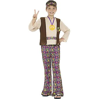 Hippie Boy Costume, Multi-Coloured, with Top, Attached Waistcoat, Trousers, Medallion & Headband